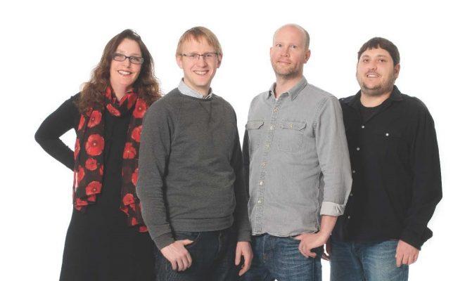Right to left: Dr Karin Bryskhe, CEO CR Development, Dr Markus Nilsson, Diagnostisk Radiologi, Lunds Universitet, Prof Daniel Topgaard, Lunds Universitet, Dr Samo Lasič, CR Development